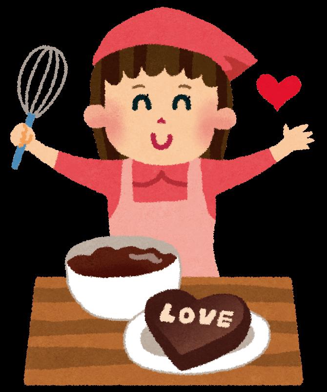 LOVEと書かれたチョコを手作りする女性